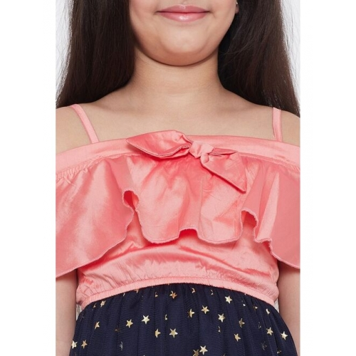 Stylo Bug Girls & Navy Blue Peach-Coloured Printed Fit and Flare Dress