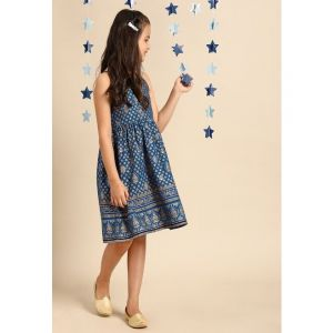 House of Pataudi Girls Blue Ornated Gold Printed Fit and Flare Dress