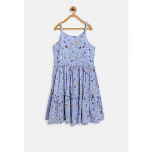 Gini & Jony Gini and Jony Girls Blue Printed A-Line Dress