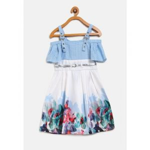 Nauti Nati Girls White & Blue Floral Print A-Line Dress With Belt