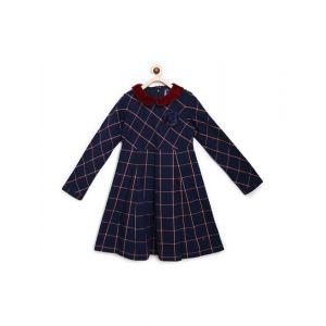Blue Giraffe Kids Red & Navy Cotton Plaid Pattern Dress