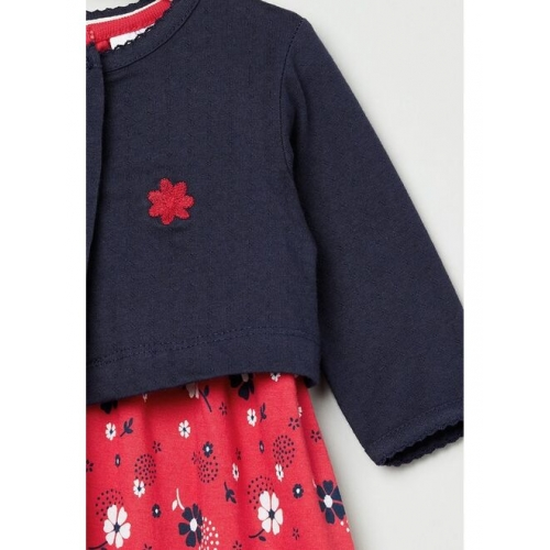 max Girls Navy Blue & Red Floral Printed Fit and Flare Dress