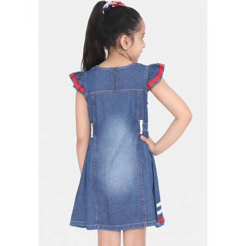 naughty ninos Girls Blue Solid Denim Fit and Flare Dress