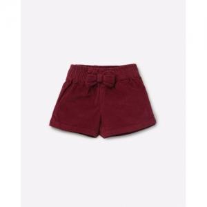 GINI & JONY Maroon Cotton Ribbed Shorts with Bow Accent