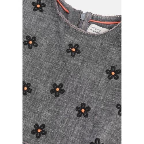 Cherry Crumble Girls Charcoal Grey Floral Embroidered A-Line Dress