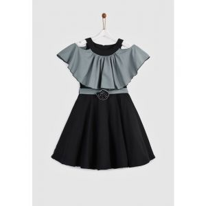 YK Girls Grey & Black Colourblocked Fit and Flare Ruffled Dress