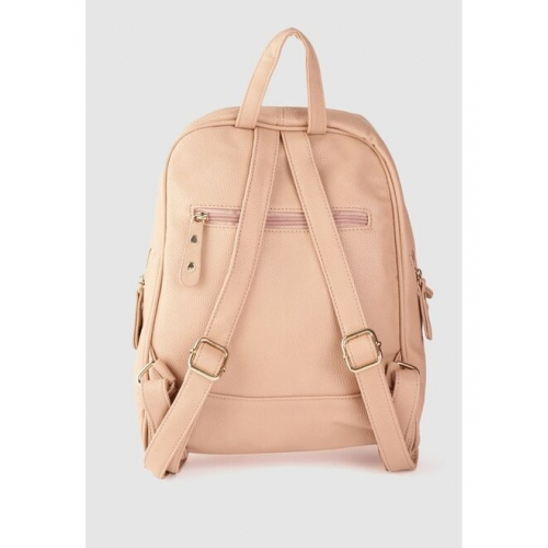 DressBerry Women Peach-Coloured Solid Backpack