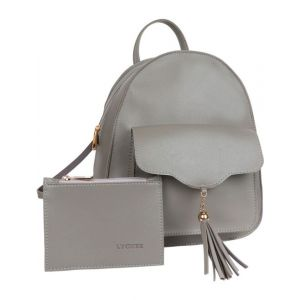 Lychee Bags Pu Grey Backpack With Inner Pouch For Girls 10 L Backpack(Grey)