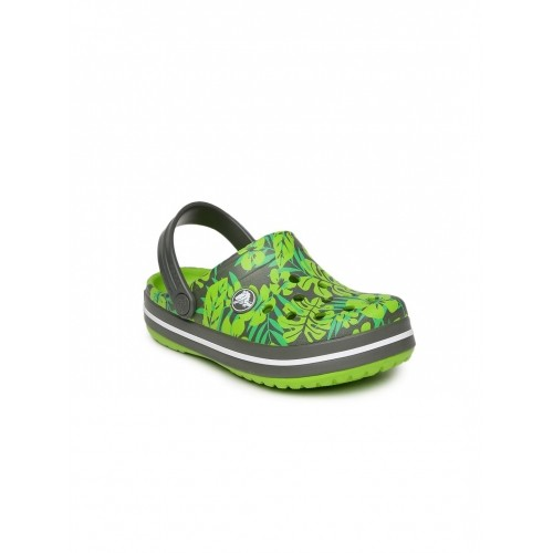 Buy Crocs Grey Green Croslite Kids Printed Clogs Online Looksgudin Interesting Patterned Crocs
