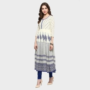 MAX Off White Cotton Printed Anarkali Kurta