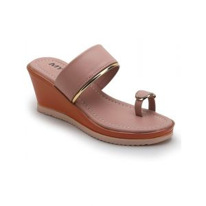 myra Pink Synthetic Women Wedges