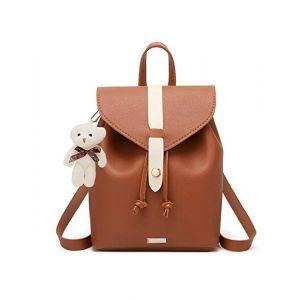 TYPIFY PU Leather Teddy Keychain Preppy Style Women Backpack