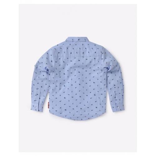 Micro Print Shirt with Button-Down Collar