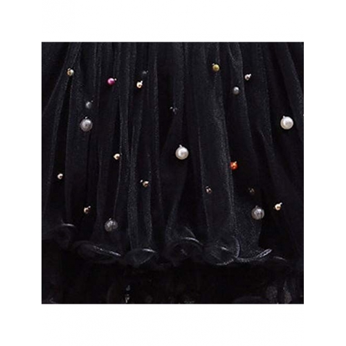 Hopscotch Girls Polyester Net Pearl Frill Skirts in Black Color