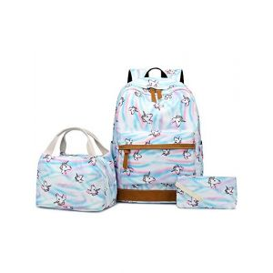 Abewoo School Bags for Girls Kids School Bag Cute Pink Unicorn Bag 3-in-1 School Backpack Set with Insulated Lunch Bag & Pencil Case 22L Waterproof Oxford