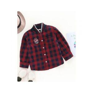 Babyhug Full Sleeves Checks Shirt Football Patch - Red Navy