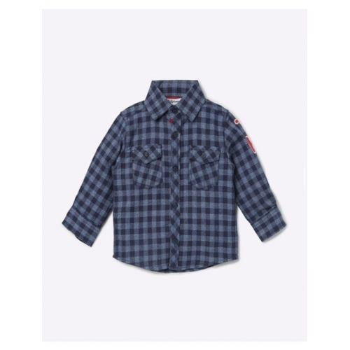 Checked Cotton Shirt with Flap Pockets