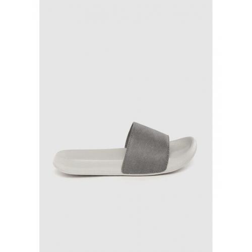 Kook N Keech Men Charcoal Grey Solid Sliders