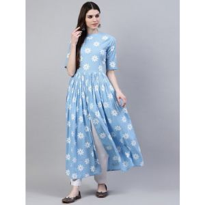 Stylum Women Printed Ethnic Dress Kurta(Light Blue, White)