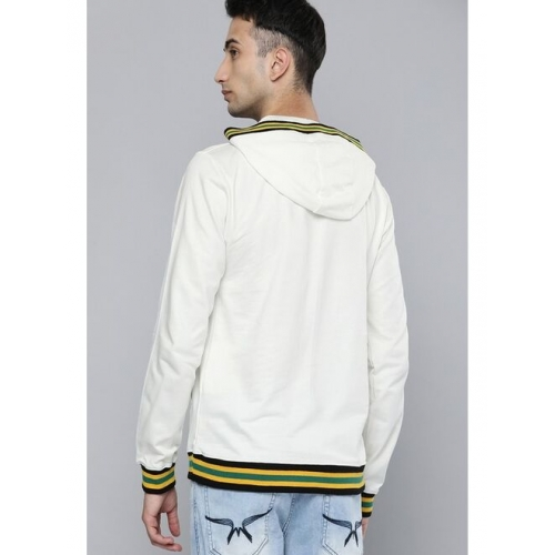 Kook N Keech Men Off-White Solid Hooded Pullover Sweatshirt with Striped Detailing