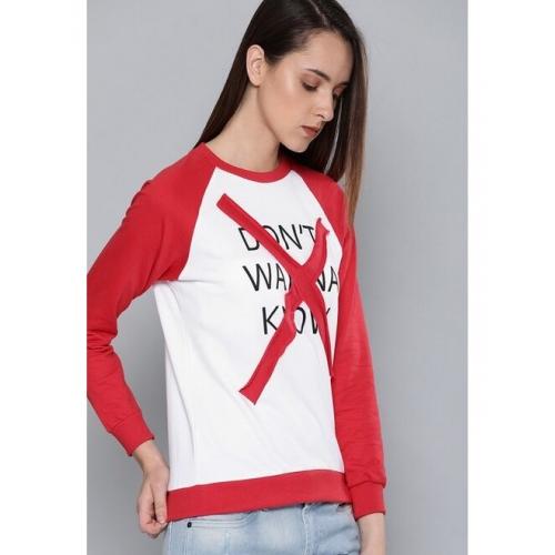 Kook N Keech Women White & Red Printed Sweatshirt