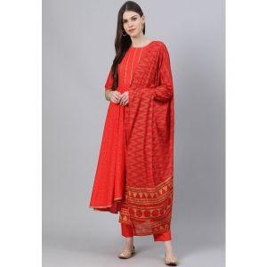 Libas Women Red Printed Kurta with Trousers & Dupatta