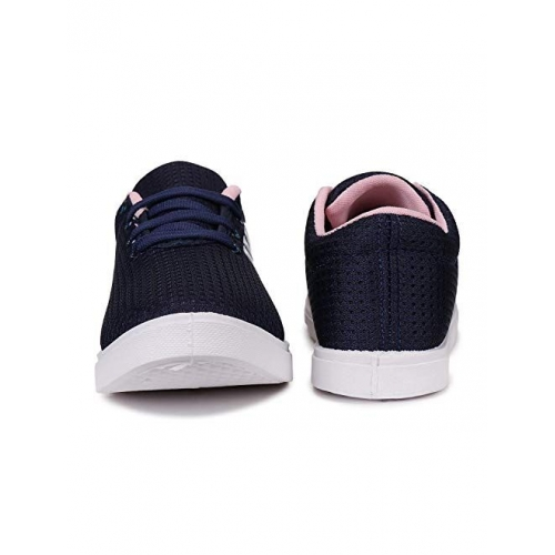 World Wear Navy Blue Mesh Lace Up Running Shoes