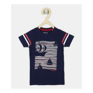 PROVOGUE Boys Printed Cotton Blend T Shirt(Dark Blue, Pack of 1)