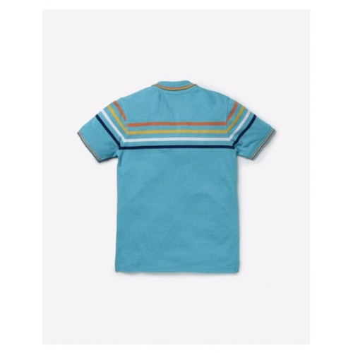 Polo T-shirt with Placement Stripes