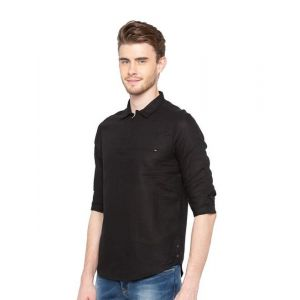 Spykar Black Full Sleeves Cotton Shirt
