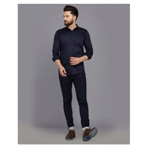 Slim Fit Shirt with Spread Collar