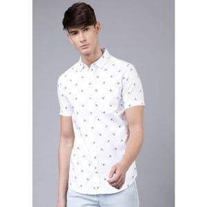 HIGHLANDER White Cotton Printed Slim Fit Casual Shirt