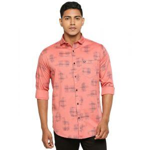 peach printed casual shirt