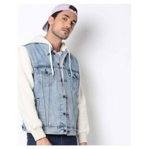 Levi's Washed Button-Down Denim Jacket with Hood