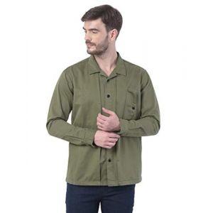 REALM Full Sleeve Green Solid Men Shacket