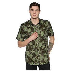 Tusok Men Short Sleeve Cotton Shirt Casual Hawaiian Aloha Flower Floral Leaf Party Beach Vacation Printed Green Camouflage