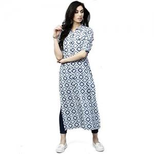 AnjuShree Choice Blue Cotton Printed Kurti
