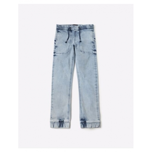Heavily Washed Slim Fit Joggers with Drawstring Waist
