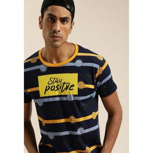 Moda Rapido Men Navy Blue & Yellow Striped Round Neck T-shirt