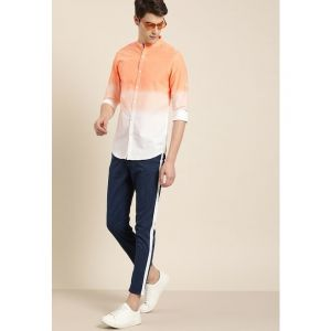Moda Rapido Men White & Orange Slim Fit Printed Casual Shirt