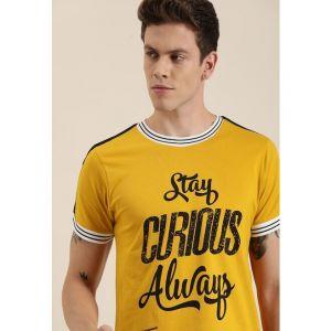 Moda Rapido Men Mustard Printed Round Neck T-shirt