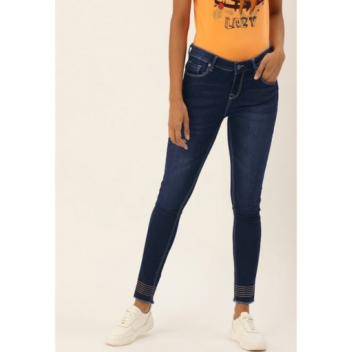 Moda Rapido Women Blue Skinny Fit Mid-Rise Clean Look Stretchable Cropped Jeans