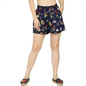 JMP Navy Blue Cotton Printed Shorts
