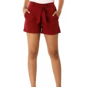 Jaipurivastra Maroon Cotton Solid Shorts