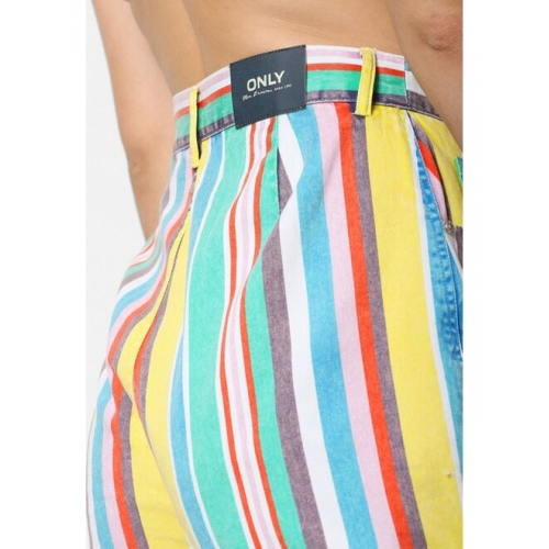 ONLY Women Multicoloured Candy Striped Regular Fit Regular Shorts