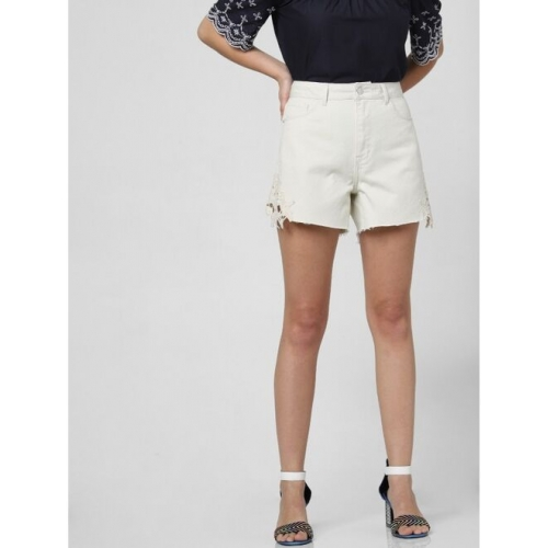 VERO MODA Solid Women Beige Regular Shorts