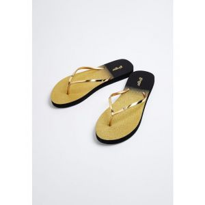 Ginger by Lifestyle Women Gold-Toned & Black Colourblocked Thong Flip-Flops