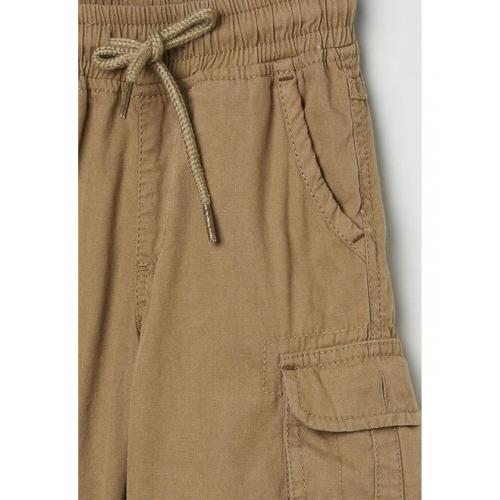 max Boys Khaki Solid Regular Fit Cargo Shorts