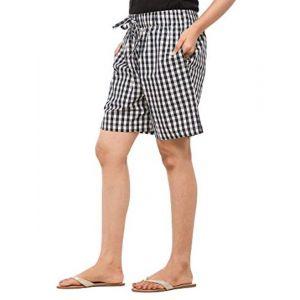 EASY 2 WEAR Women Checks Shorts - Loose and Long Fit - (Sizes XS to 4XL) - (Blue/White Checks)
