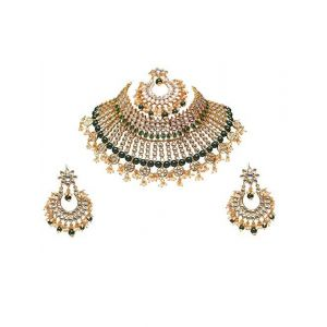 Vast Swarajshop gold plated South indian Traditional Kundan Pearls Green Colour Designer Bridal Necklace Set for Women